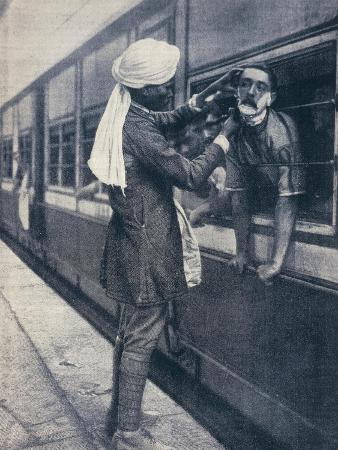 British Colonial Army Officer Being Shaved During a Train Stop to the Himalayas