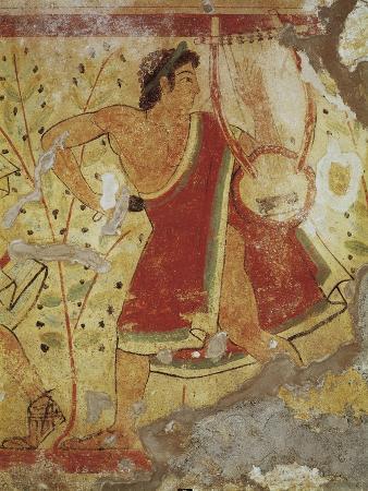 Italy, Latium Region, Tarquinia, Etruscan Necropolis, Tomb of the Leopards Depicting Lyre Player