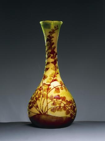 Bulb Vase with Long Neck and Three-Lobed Opening with Engraved Motifs of Brown and Green Branches