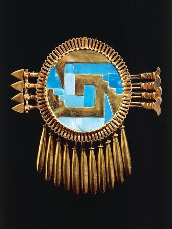Breastplate of Gold and Turquoise Mosaic, from Yanhuitlan, Mexico
