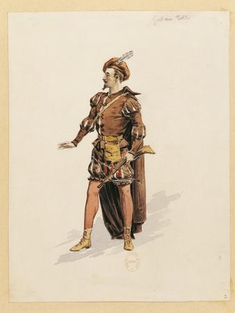 France, Paris, Costume Sketch for Guillame for Performance William Tell, at Paris Opera Garnier