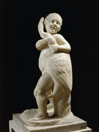 Marble Sculpture Portraying Child Playing with Goose, Copy from Greek Bronze Original