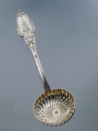Silver Dusting Spoon with Floral Decorated Handle