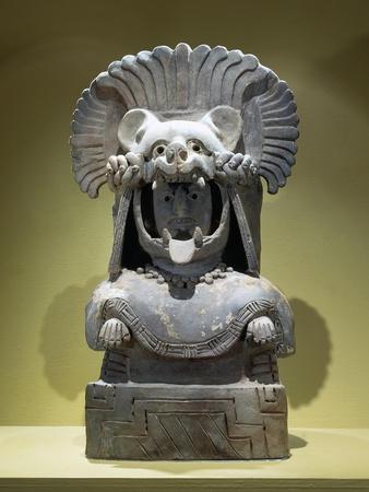 Anthropomorphic Funerary Urn known as Woman with Jaguar Helmet