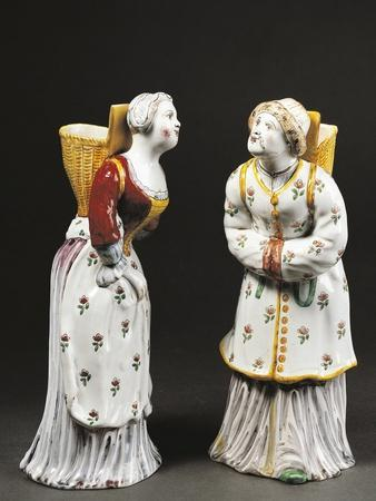 Women Carrying Baskets, Decorated in Maiolica Enamel, Low-Temperature Firing, 1755-1760