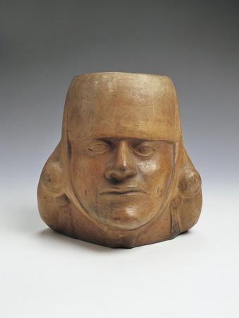 Vessel in the Shape of a Head, Mochica Culture, Terracotta
