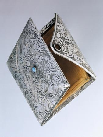 Compact Powder Case with Turquoise Clasp, Engraved Silver, Italy