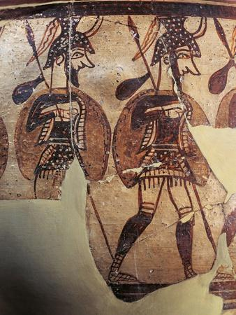 Ceramics, Krater known as 'Warrior Vase', Detail, Armed Soldiers