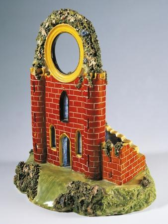 Clock Stand Depicting Old Ruin, Ca 1820
