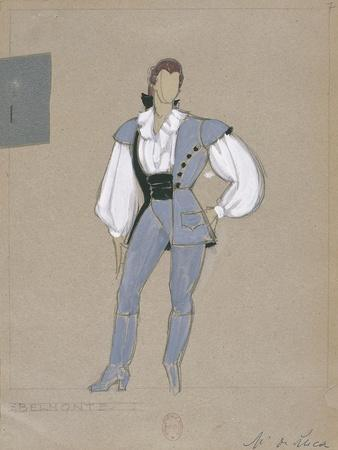 France, Paris, Costume Sketch for Belmonte for Performance the Abduction from the Seraglio