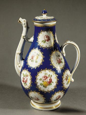 Coffee Pot in Blue and Gold with Floral and Rose Decorations, 1765