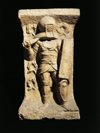 Stele of Gladiator from Secutores Class Armed with Oblong Shield and Short Sword