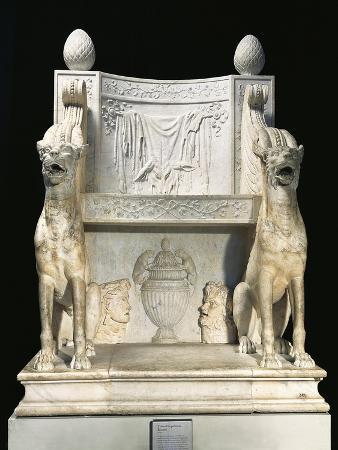 Marble Throne of Priest of Bacchus, Replica of Roman Sculptures Using Original Parts