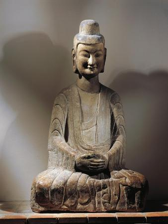 Henan Province, Gongxian Caves, Statue of a Sitting Buddha, Grey Limestone