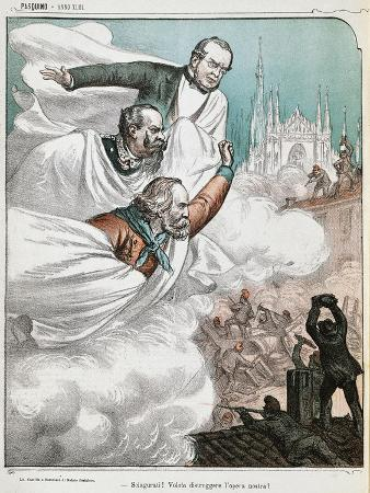 Cartoon Depicting Cavour, Garibaldi and Victor Emmanuel II Dedicated to the Social Unrest in Italy