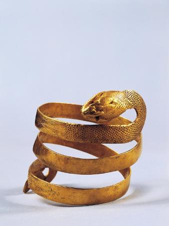 Roman Civilization, Golden Bracelet in Shape of Snake, from Pompei, Italy