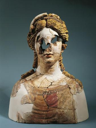 Italy, Sicily, Kore Bust, Ppolychrome Terracotta