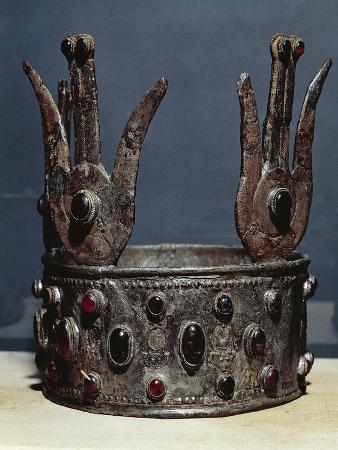 Egyptian Civilization, Nubian Art, Goldsmithery, Silver and Semiprecious Stones Crown