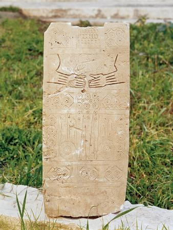 Daunian Civilization, Figured Stele or Smenhir, from Siponto, Apulia Region, Italy