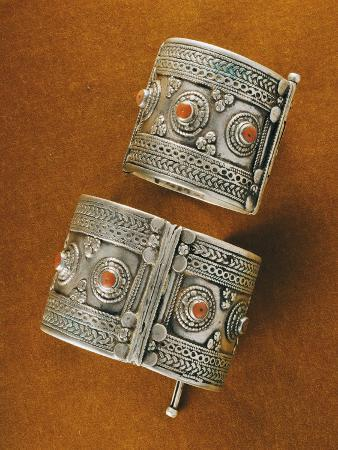 Enamelled Silver Bracelets with Coral Studs, Middle East and Morocco