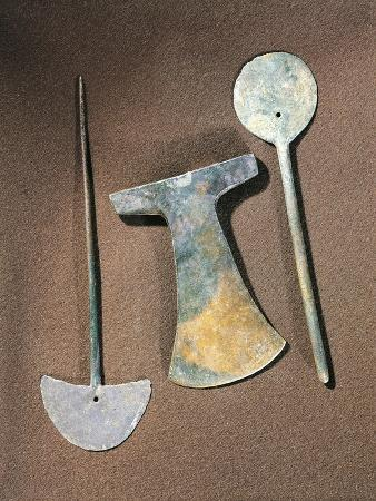 Iron Axe and Large Pins, Bolivia, Tiwanaku Culture