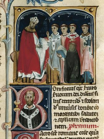 Pope Boniface Viii Receives a Manuscript Containing His Laws