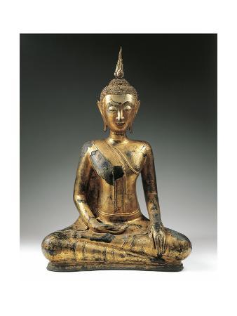 Thailand, Gilded Bronze Statue of Buddha