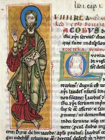 Saint James, Miniature from the Calixtinus Codex Latin Manuscript Folio 4 Recto