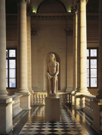 France, Ile-De-France, Paris, Musee Du Louvre, Colonnade, North Staircase, Pharaoh Colossal Statue