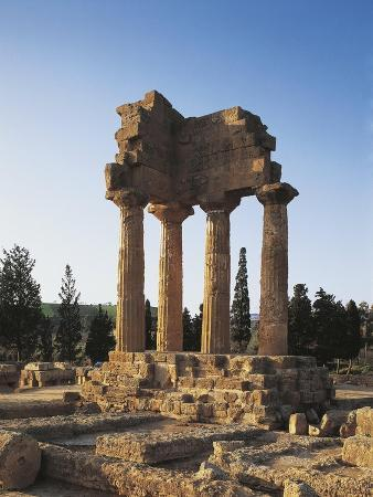 Italy, Sicily Region, Agrigento Province, Agrigento, Valley of Temples, Temple of Castor and Pollux