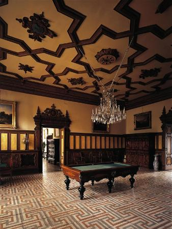 Glimpse of Billiard Room, First Floor, Miramare Castle, Trieste, Friuli-Venezia Giulia, Italy