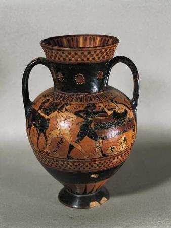Italy, Rome, Cerveteri, Amphora with Mythological Scenes Depicting Tideo Killing Ismene
