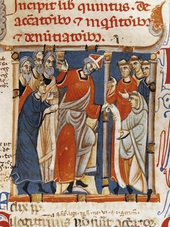 The Pope Delivering the Constitution, Miniature from the Constitutions of Gregory IX Codex, Italy