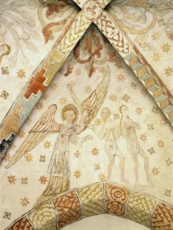 Expulsion of Adam and Eve from Paradise, 13th Century Fresco, Vester Broby Church, Soro, Denmark