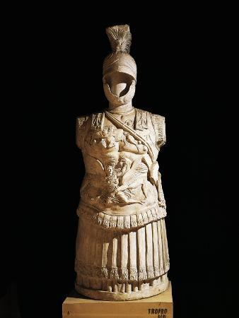 Statue of Trophy of Arms with Parade Armor of Roman Officer, from Rhodes, Greece B.C.