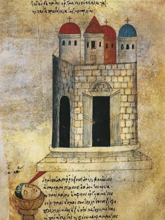 The Holy Sepulchre in Jerusalem, Miniature from the Oracle of Leo the Wise, Manuscript, Greece