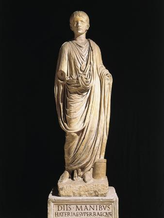 Statue of Boy Wearing Bulla, from Ancient Veleia, Velleia, Emilia Romagna Region, Italy