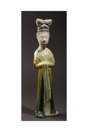 Court Lady, Glazed Tri-Color Terracotta Statue