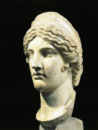 Marble Head of Hera or Juno, Copy from Greek Original by Polykleitos