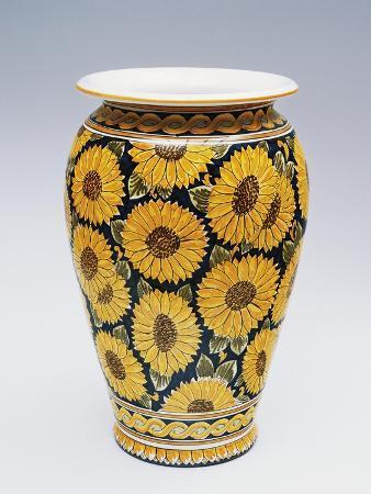 Umbrella Stand Decorated with Sunflowers, Ceramics