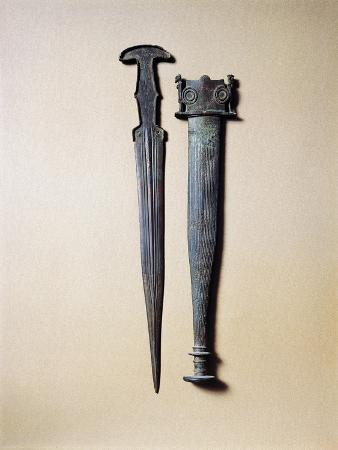 Bronze Sword Decorated with Small Anthropoid Figures on Sheath