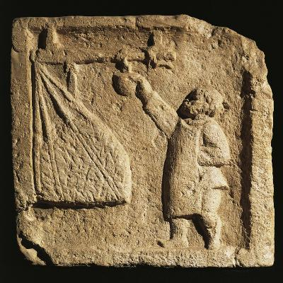 Roman Civilization, Relief Portraying Merchant Weighing Large Sack