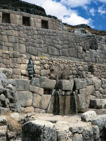 Peru, Cuzco, Tambomachay, Wall and Fountains known as the 'Inca Baths', Inca Archaeological Site