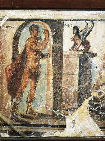Fresco Depicting Oedipus and Sphinx
