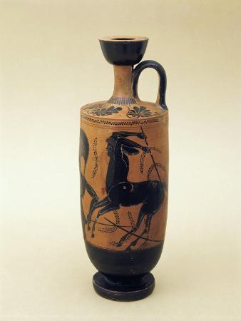 Black-Figure Pottery Lekhytos Depicting the Battle Between Lapiti and Centaurs