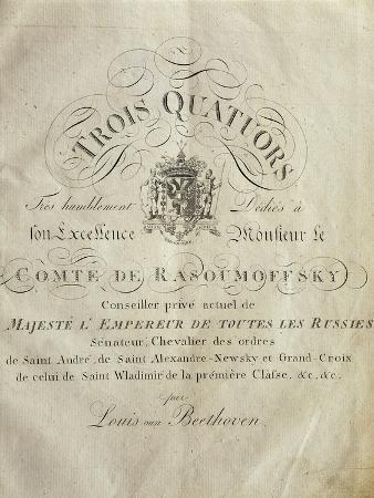 Austria, Vienna, Three Quartets with Dedication to Count Razumovsky, First Edition