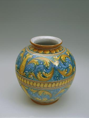 Majolica Vase with Floral Decoration