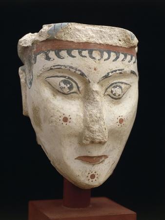 Greece, Mycenae, Painted Stucco Head of Sphinx