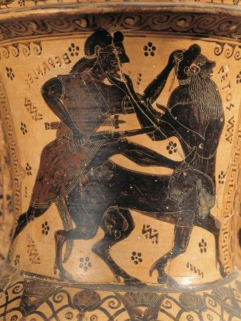 Black-Figure Pottery, Amphora Depicting Heracles and Centaur