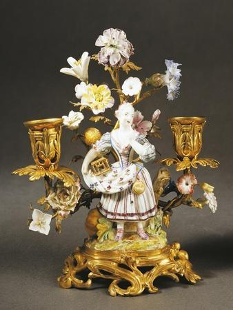 Candelabra with Gardener Girl Decorated with Flowers, 1752